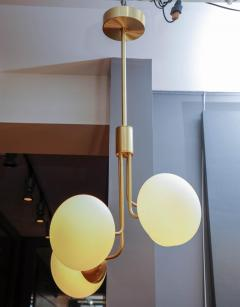 Satin Brass Suspension with Four Lights and Round White Glass Globe - 716223