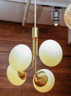 Satin Brass Suspension with Four Lights and Round White Glass Globe - 716227