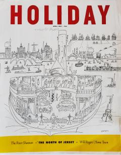 Saul Steinberg New York Harbor with Ferry boats and Victorian Houses Holiday Magazine - 1490830