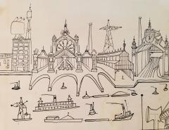 Saul Steinberg New York Harbor with Ferry boats and Victorian Houses Holiday Magazine - 1490831