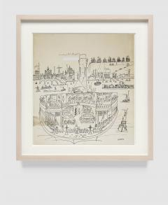 Saul Steinberg New York Harbor with Ferry boats and Victorian Houses Holiday Magazine - 1490834