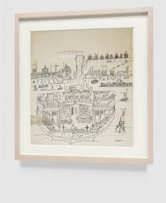 Saul Steinberg New York Harbor with Ferry boats and Victorian Houses Holiday Magazine - 1490835
