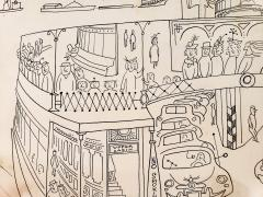 Saul Steinberg New York Harbor with Ferry boats and Victorian Houses Holiday Magazine - 1490836