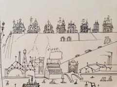 Saul Steinberg New York Harbor with Ferry boats and Victorian Houses Holiday Magazine - 1490837