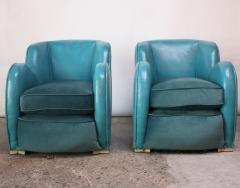 Scandinavian Deco Club Chairs in Blue Leather and Velvet - 381408