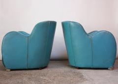 Scandinavian Deco Club Chairs in Blue Leather and Velvet - 381410