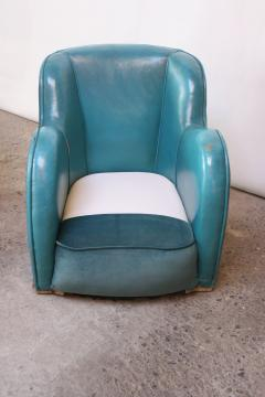 Scandinavian Deco Club Chairs in Blue Leather and Velvet - 381411