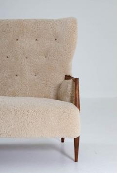 Scandinavian Midcentury Sheepskin Sofa Loveseat 1940s Denmark - 1620119