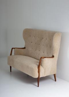 Scandinavian Midcentury Sheepskin Sofa Loveseat 1940s Denmark - 1620120