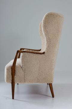 Scandinavian Midcentury Sheepskin Sofa Loveseat 1940s Denmark - 1620124