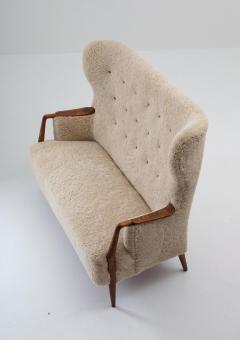 Scandinavian Midcentury Sheepskin Sofa Loveseat 1940s Denmark - 1620126