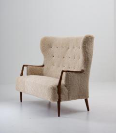 Scandinavian Midcentury Sheepskin Sofa Loveseat 1940s Denmark - 1620128