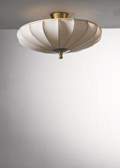 Scandinavian Modern fabric and brass flush mount - 2140418