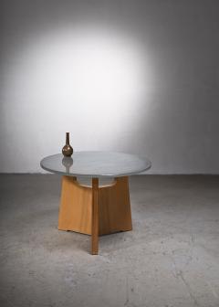Scandinavian Modern foldable elm coffee table with glass top - 2140420