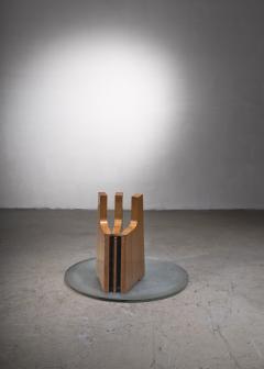 Scandinavian Modern foldable elm coffee table with glass top - 2140421