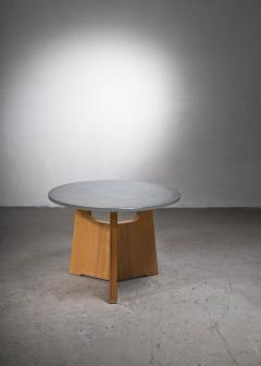 Scandinavian Modern foldable elm coffee table with glass top - 2140423