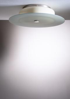 Scandinavian Modern green and yellow glass flush mount ceiling lamp - 1904413