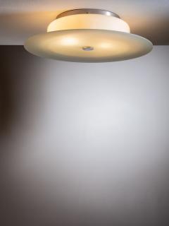 Scandinavian Modern green and yellow glass flush mount ceiling lamp - 1904414