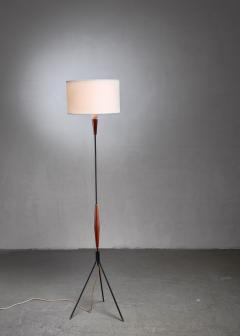 Scandinavian Modern metal and teak tripod floor lamp - 1191564