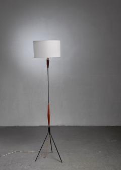 Scandinavian Modern metal and teak tripod floor lamp - 1191565