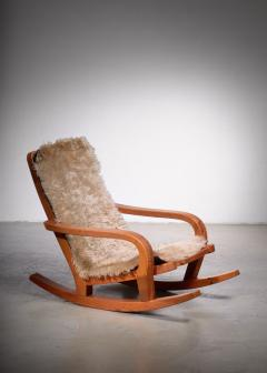Scandinavian Modern pine rocking chair - 1989223