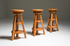 Scandinavian Pine Architect Stools 1970s - 1691778