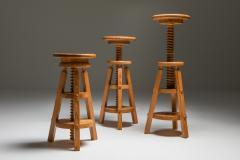 Scandinavian Pine Architect Stools 1970s - 1691779