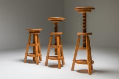 Scandinavian Pine Architect Stools 1970s - 1691780