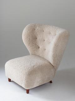 Scandinavian Wing Back Lounge Chairs in Sheepskin 1930s - 1620321