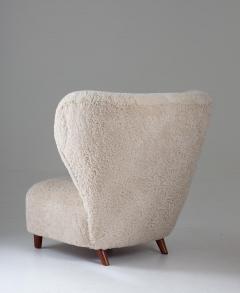 Scandinavian Wing Back Lounge Chairs in Sheepskin 1930s - 1620322
