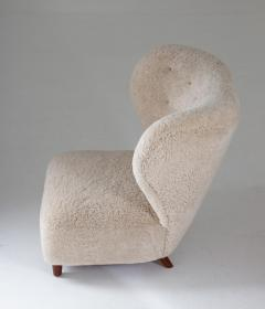 Scandinavian Wing Back Lounge Chairs in Sheepskin 1930s - 1620323