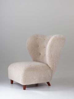 Scandinavian Wing Back Lounge Chairs in Sheepskin 1930s - 1620325