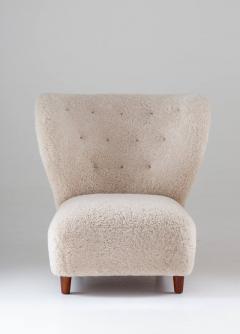 Scandinavian Wing Back Lounge Chairs in Sheepskin 1930s - 1620326