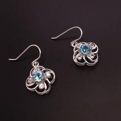 Scintillating Blue Cambodian Zircons nestled in Delicate Sterling Silver - 1659253