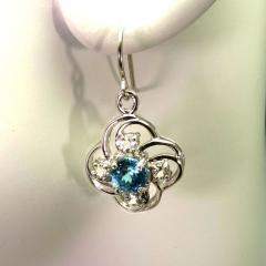 Scintillating Blue Cambodian Zircons nestled in Delicate Sterling Silver - 1659257