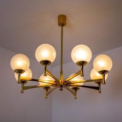 Sciolari Style Chandelier in Brass with Opaline Brass in the Style of Sciolari - 1164973