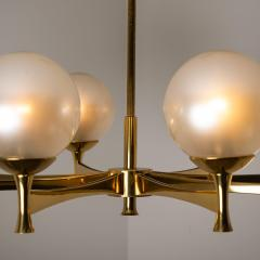 Sciolari Style Chandelier in Brass with Opaline Brass in the Style of Sciolari - 1164976