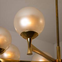 Sciolari Style Chandelier in Brass with Opaline Brass in the Style of Sciolari - 1164977