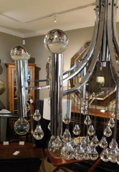 Sciolari Style Italian 1970s Gaetano Sciolari Style Chrome and Glass Ten Light Chandelier - 1958688