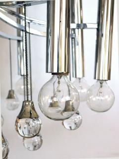 Sciolari Style Italian 1970s Gaetano Sciolari Style Chrome and Glass Ten Light Chandelier - 1958690