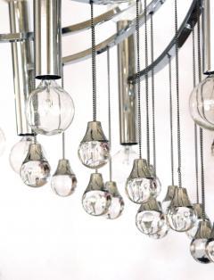 Sciolari Style Italian 1970s Gaetano Sciolari Style Chrome and Glass Ten Light Chandelier - 1958691