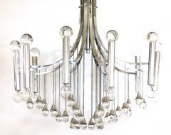 Sciolari Style Italian 1970s Gaetano Sciolari Style Chrome and Glass Ten Light Chandelier - 1958692