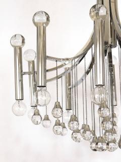 Sciolari Style Italian 1970s Gaetano Sciolari Style Chrome and Glass Ten Light Chandelier - 1958693