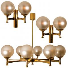 Sciolari Style Set of 3 Opaline Brass Light Fixtures in the Style of Sciolari 1960 - 1164949
