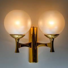 Sciolari Style Set of 3 Opaline Brass Light Fixtures in the Style of Sciolari 1960 - 1164958