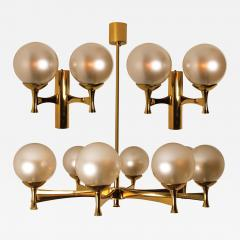 Sciolari Style Set of 3 Opaline Brass Light Fixtures in the Style of Sciolari 1960 - 1171201