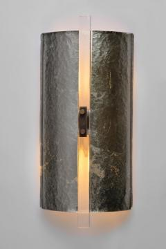 Scudo Sconce Champagne Textured Murano Glass White Gold Leaf Brass Detailing - 1487849