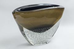 Sculptural Black and Gold Low Vase signed contemporary - 1184382