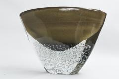 Sculptural Black and Gold Low Vase signed contemporary - 1184386