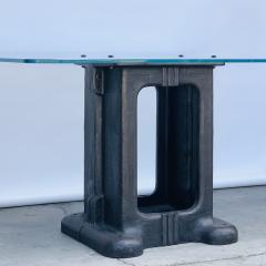 Sculptural Cast Iron Pedestal and Glass Industrial Dining Work Table - 1402918